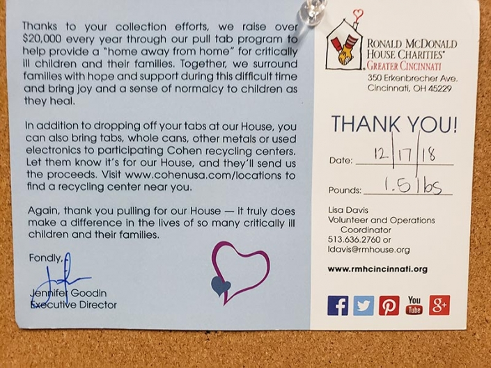 A thank you letter to Casco from the Ronald McDonald House.