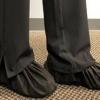 Slip on shoe covers on feet
